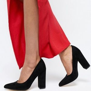ASOS Wide Fit Black Pointed Block Heels Size 9